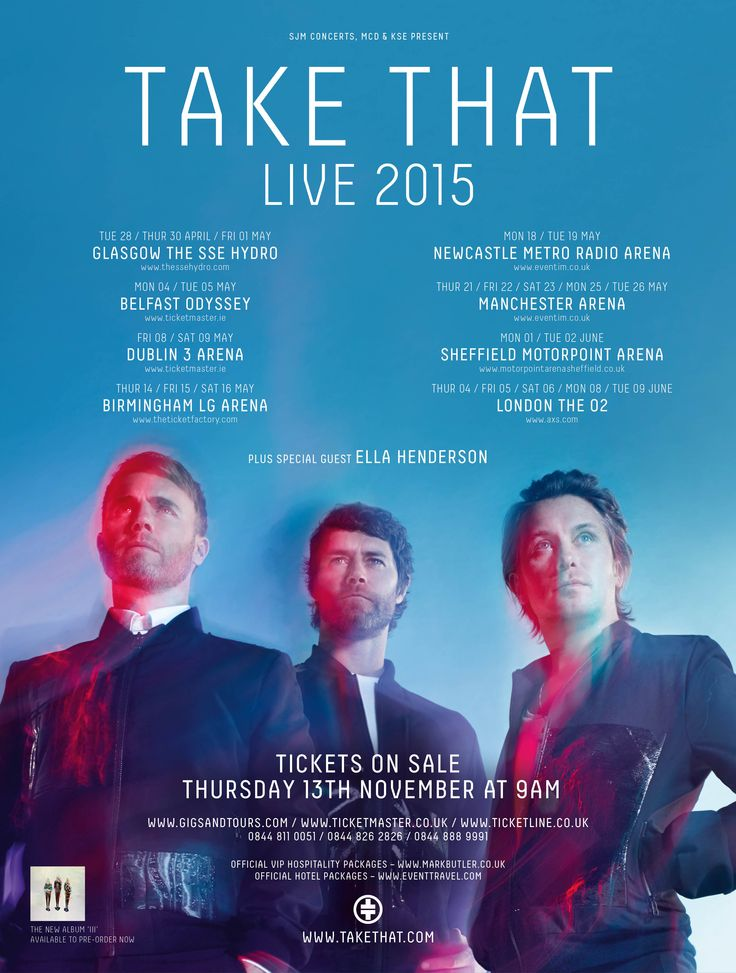 Take That  Live 2015 Dublin and Belfast May 2015