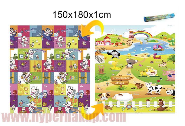 Detský obojstranný penový koberec zvieratká 150x180 cm