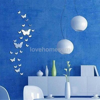 25pz Farfalle Specchio Adesivo Da Parete Muro Arte Decorazione Casa Ufficio