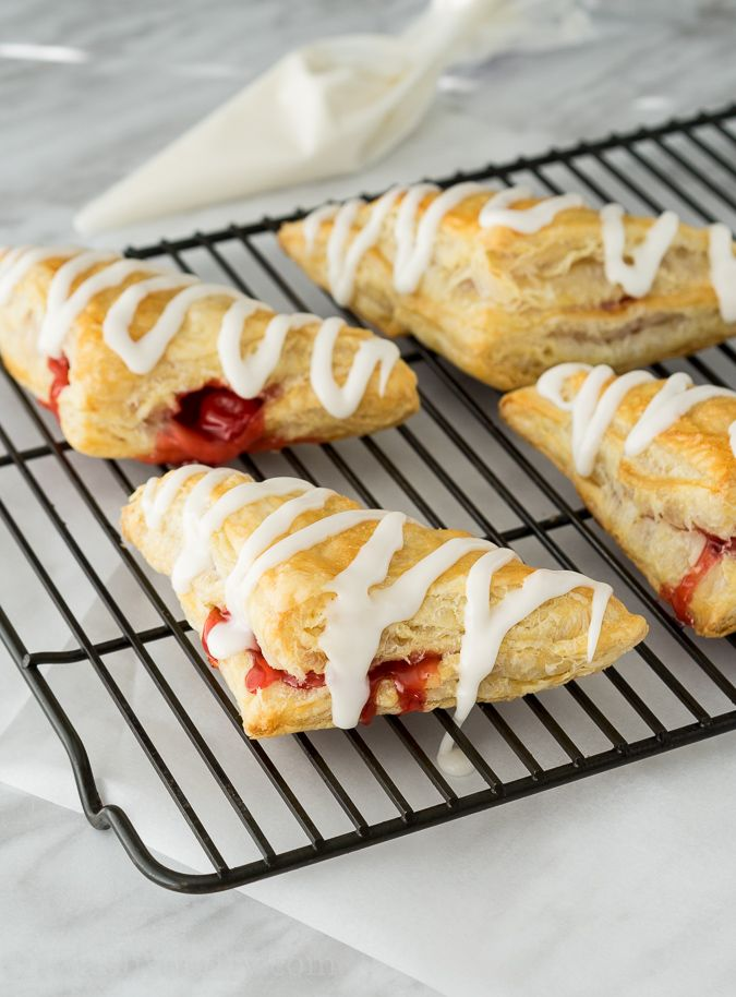 Super Easy Cherry Turnovers - using pie filling and puff pastry