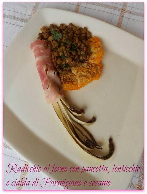 Radicchio di Treviso tardivo al forno, con pancetta, lenticchie e cialda di Parmigiano e sesamo
