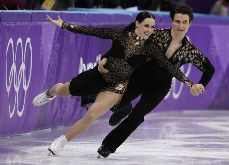 Canada's Tessa Virtue and Scott Moir perform their short program during the Olympic ice dance competition on Monday in Gangneung, South Korea.