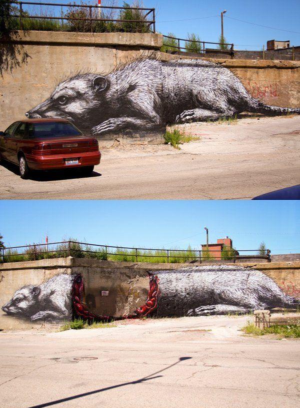 Street Art Zeichnung aus 2 verschiedenen Perspektiven - Win Bild   Webfail - Fail Bilder und Fail Videos