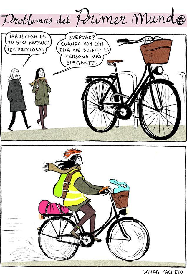 Fiets cartoon. Problemas del primer mundo 69