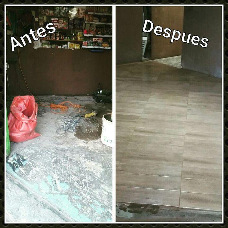 Cambio de piso Antes y después Piso gres porcelanático estilo madera para Panadería Ke Ricco Meetox construcciones Antofagasta-Chile
