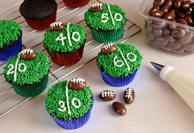 Championship Chocolate Cupcakes - Use a chocolate-covered almond to make the football.