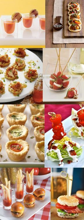 Wedding Round-up! Savory mini-appetizers!!! ...mmmm salty! SAVORY TREATS // mini grilled cheese and tomato soup, mini pizza, mini chicken and waffles, mini caprese bites, mini quiches, mini wedge salad, mini burgers and fries, and the mini blt! http://somethingturquoise.com/2012/08/07/round-up-mini-appetizers/
