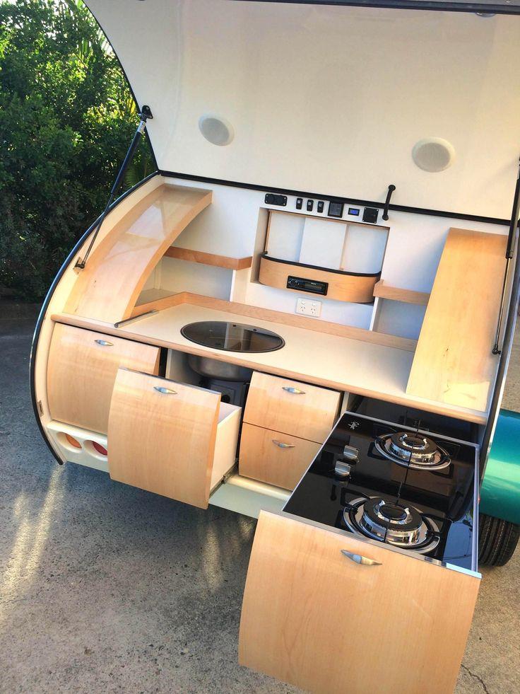 AMERICAN ROCK MAPLE Natural Timber Kitchen. Gidget Bondi Model. Gidget  Retro Teardrop Camper Www