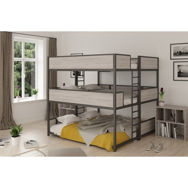 You Ll Love The Jalynn Heavy Duty Triple Bunk Bed At Wayfair Great Deals On All Baby Amp Kids Products With Free Ship King Size Bunk Bed Bunk Beds Kid Beds Bunk beds with trundle beds