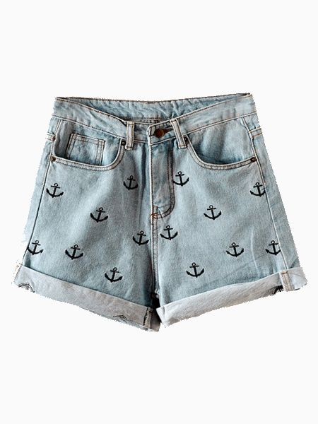 Anchor Embroidery Curling Denim Shorts