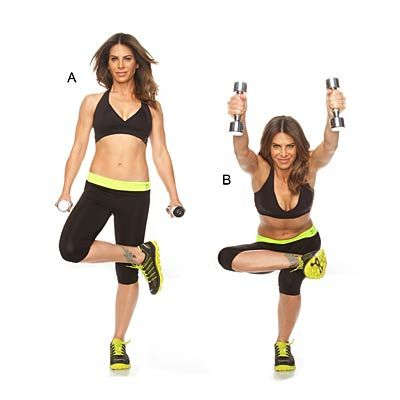 Quadruple your calorie burn with this double-duty exercise that works your glutes and shoulders! Learn how to use a pair of dumbbells to intensify a single-leg squat.
