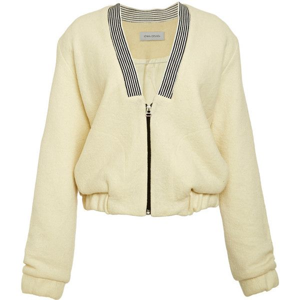 Ioana Ciolacu Prey Bomber Jacket In Off White ($800) ❤ liked on Polyvore featuring outerwear, jackets, striped jacket, wool bomber jacket, wool jacket, off white jacket and flight jacket