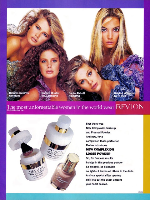 Revlon Campaign 1989: Clauida Schiffer, Rachel Hunter, Paula Abbott & Rachel Williams