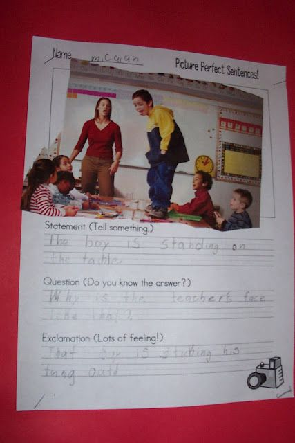 picture perfect writing. Students find a picture from a magazine and then write the different types of sentences about the picture. I would take this up a notch for my fourth graders by having them write declarative, exclamatory, ect. sentences or even a paragraph.