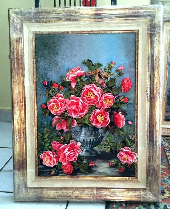 Silk Ribbon Embroidered Picture 3d roses  Embroidery with