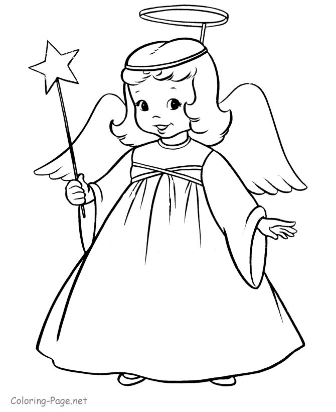 Christmas coloring book page - Angel and Star