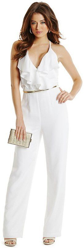 $178, White Jumpsuit: GUESS by Marciano Reanna Ruffle Jumpsuit. Sold by GUESS by Marciano. Click for more info: https://lookastic.com/women/shop_items/255240/redirect