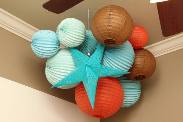 orange and turquoise baby nursery ceiling decor