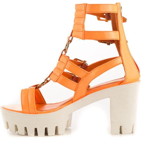 Privileged Women's Coffee Run - Orange (315 DKK) ❤ liked on Polyvore featuring shoes, sandals, high heel platform sandals, block heel sandals, orange high heel shoes, orange shoes and platform sandals
