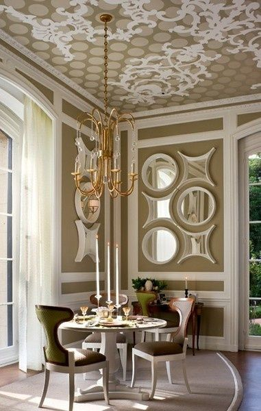 Design Elements In This Dining Room The Chandelier Ceiling Painted With An Updated Version Of More Traditional Patterns And Funky Mirrors On