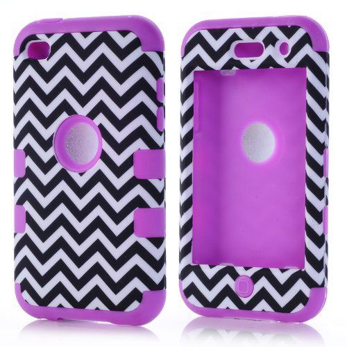 SHHR-ZW32N Luxury 3 in 1 Chevron Pattern Design Hybrid case for iPod Touch 4th Generation-Purple Silicone:Amazon:Cell Phones & Accessories
