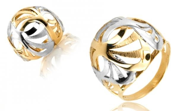 latý dámsky prsteň dvojfarebný