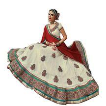 Melluha Bright Square Net Women\'s Lehenga Ml-0500 White    ₹Rs. 2,355
