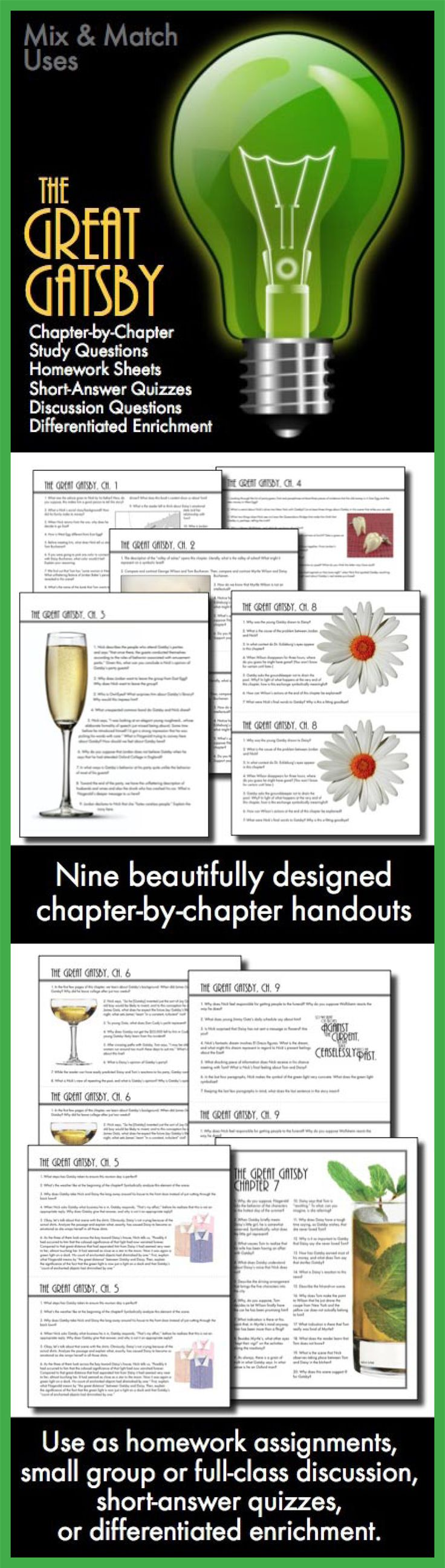 Use this visually stunning package of chapter-by-chapter questions covering F. Scott Fitzgerald's masterpiece, The Great Gatsby, to pull your students into the text and inspire them to think deeply about Fitzgerald's characters and themes.