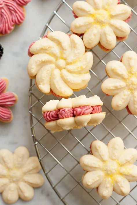 Lemon Blackberry Spritz Sandwich Cookies