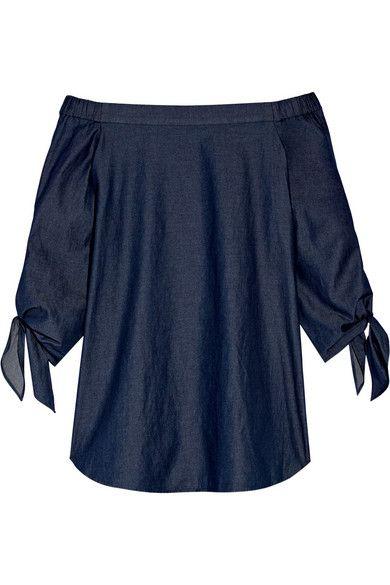 Tibi   Off-the-shoulder cotton-chambray top   NET-A-PORTER.COM
