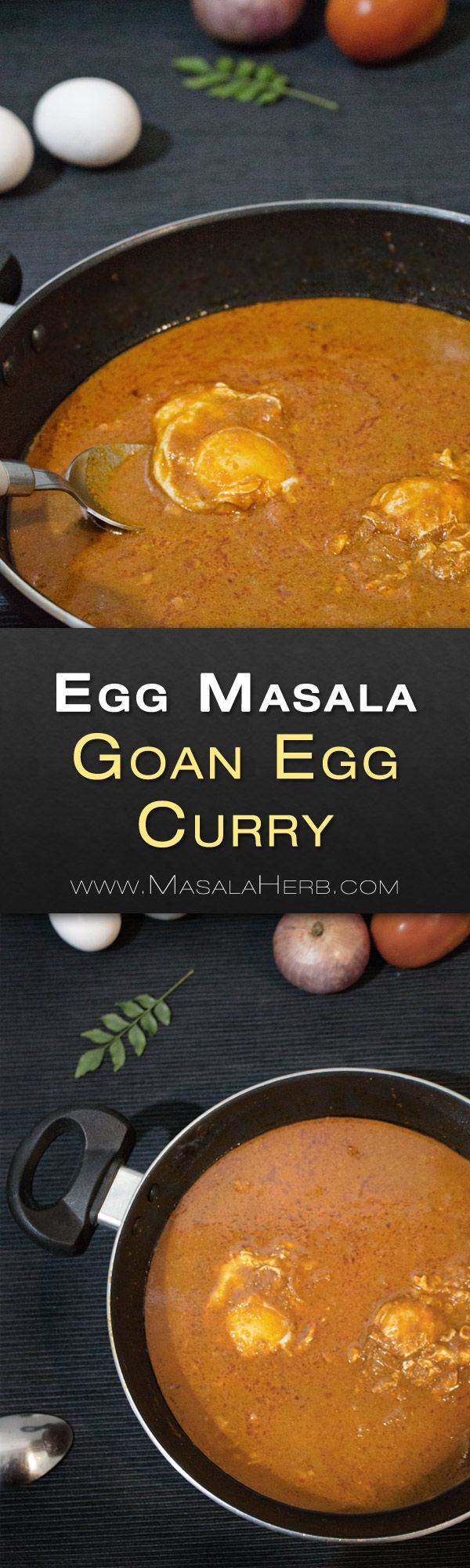 One Pot Egg Masala Recipe - Goan Egg Curry with Coconut - How to make Egg Masala Curry +Video! 20 minute easy to prepare comforting and flavorful curry. tips and instructions on the recipe page www.MasalaHerb.com