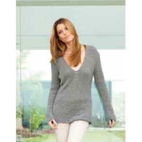 Glatstrikket sweater med dyb V-hals - gratis download
