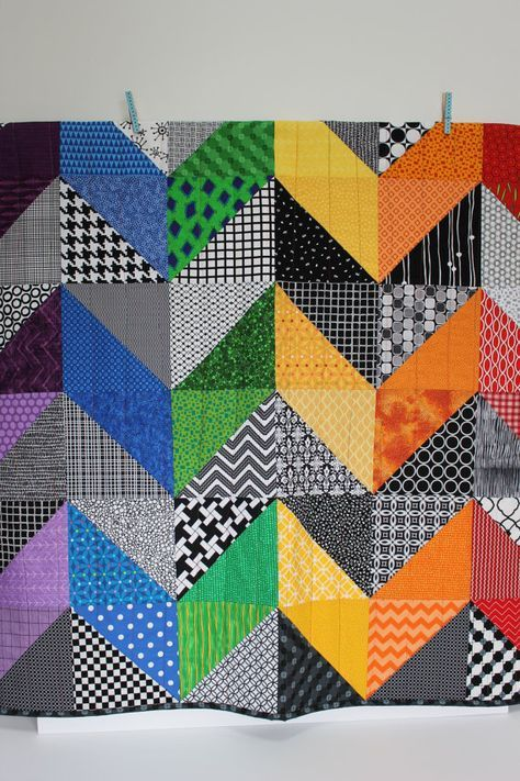 """Modern Baby Quilt """"Olivia""""; Contemporary; Chevron Pattern; Rainbow Colors; Baby Quilt; Lap Quilt; Play Mat; Wall Hanging; Gender Neutral"""