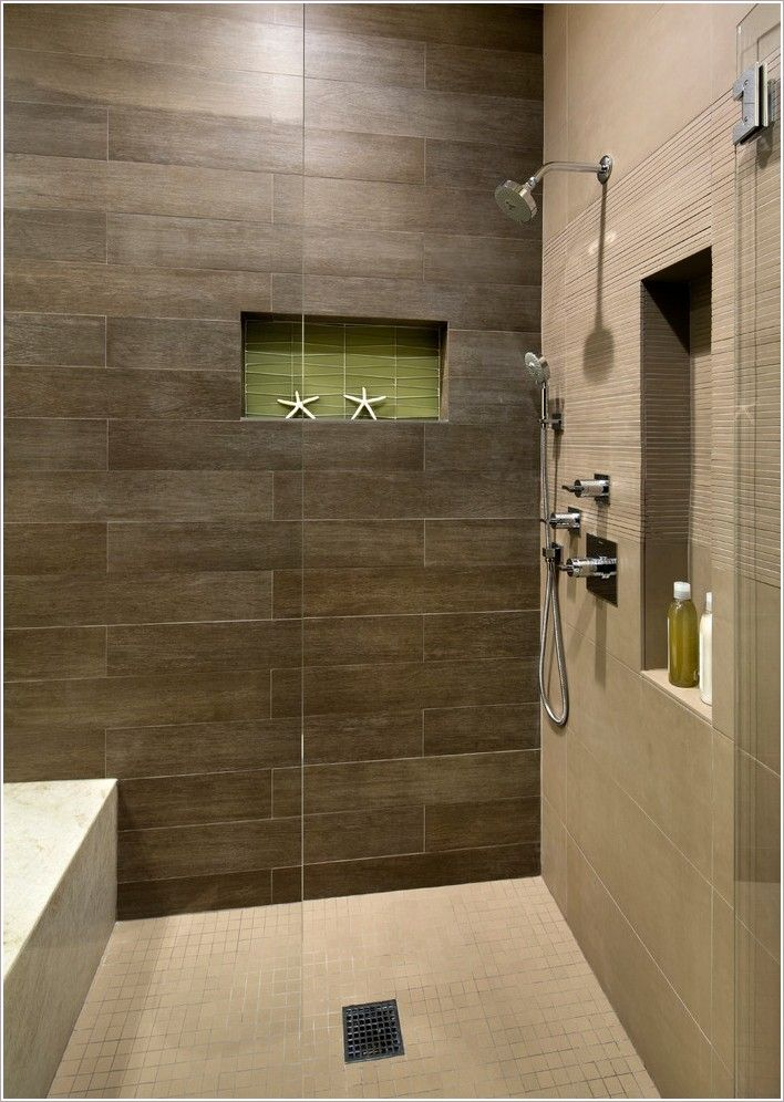Shower with dark brown tile and light floor google for Brown tile bathroom ideas