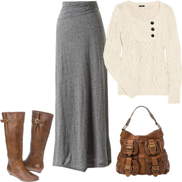 Pretty grey maxi outfit. I LOVE chunky knit ivory sweaters!!!