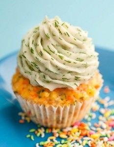 Salmon cupcakes with dill frosting. you look at it and think that it's sweet, but it's actually not!