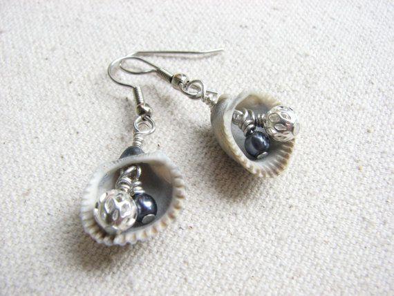 Beach Shell Earrings  Sea Shell Jewelry. Beach by BitsOffTheBeach (CE)