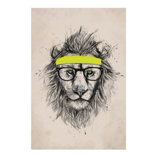 Hipster Lion Light Background Poster