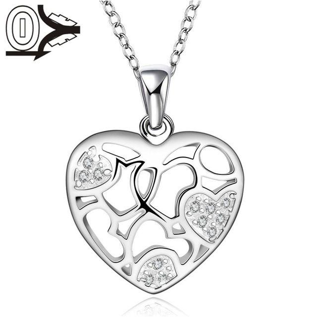 Бесплатная Доставка! Оптовая Посеребренная Ожерелье & Кулон, Свадебные Украшения, Аксессуары, Мода Серебряные Сердца в форме Ожерелья