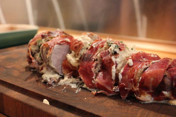 svinemørbrad med bacon og pikantost