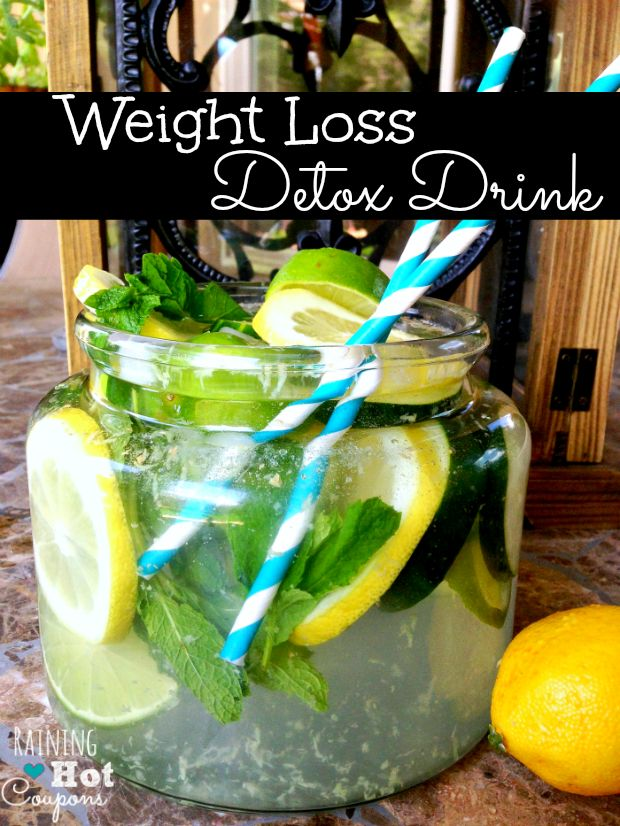 weight drink 2 Weight Loss Detox Drink Recipe  2 quarts water 1 Lemon 1 Cucumber 1 Tablespoon grated Fresh Ginger 1 Lime Fresh Mint (about 10-15 leaves)