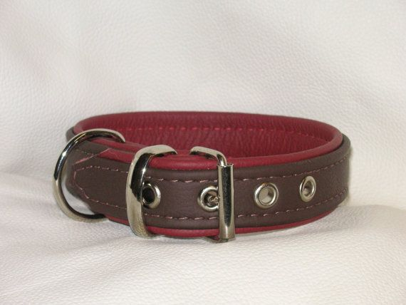 hand crafted chocolate brown and dark pink leather dog collar by why not take a look www.etsy.com/uk/shop/Newforestcrafts