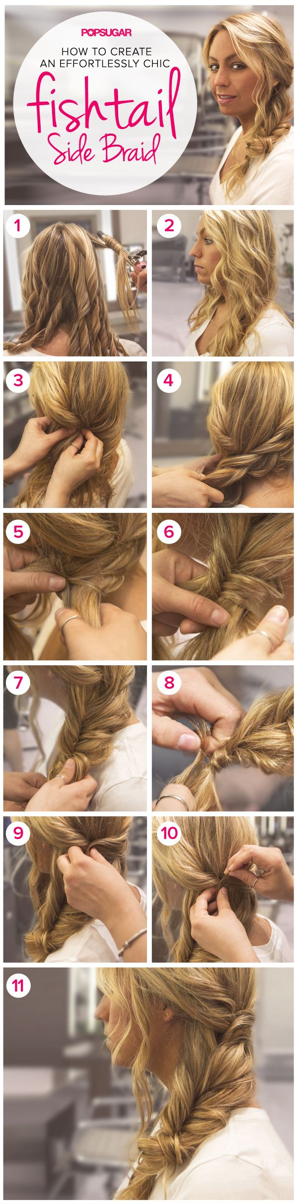 Learn this boho chic side fishtail braid. Perfect for Summer! #hair #braids