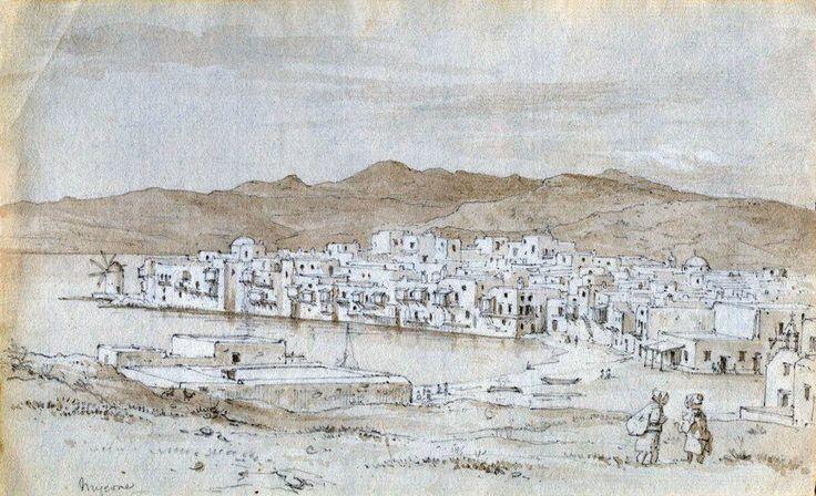 Charles Robert Cockerell,1810. Άποψη της Παλιάς Μυκόνου.