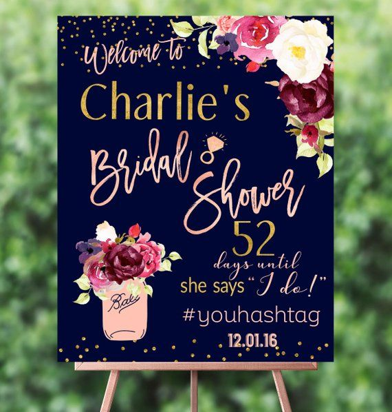 Bridal Shower Welcome Sign Digital File Burgundy Bridal Shower Decor Rose Gold and Navy Personalized Fall Wedding Countdown Sign
