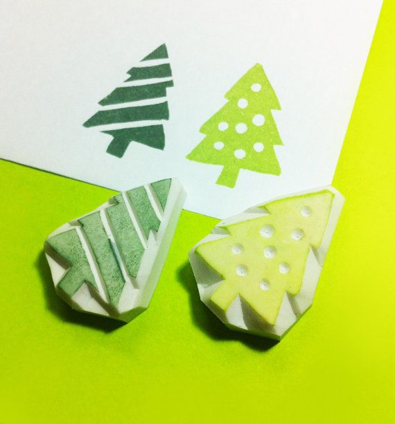 Christmas tree rubber Stamp choose 1 only Christmas by theKeris, $5.75