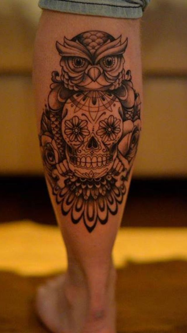 Day of the dead skull and owl mixed in to one