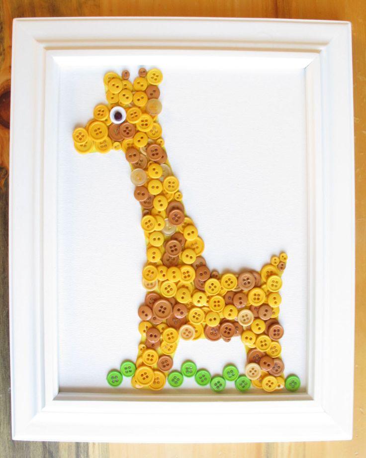 Giraffe Button Animal, Yellow, Canvas Panel, 8x10. $25.00, via Etsy.