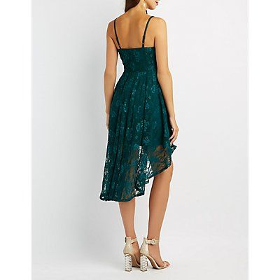 Lace High-Low Skater Dress