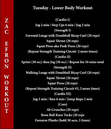 zac efron workout tuesday